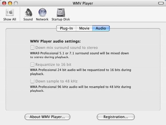 Using the Audio Panel Click the Audio button to display the WMV Player audio settings. These settings control how WMV Player imports audio from files containing Windows Media Audio Professional.