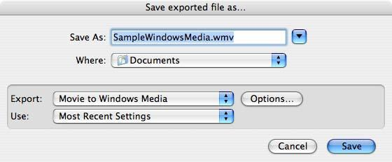 Using WMV Export After you install WMV Export, Windows Media is an export option in supported QuickTime applications.