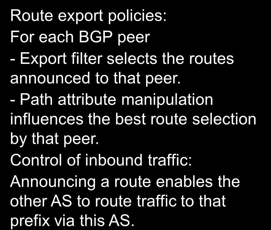 received routes accepted from that peer. - Path attribute manipulation influences best route selection by this BGP router.
