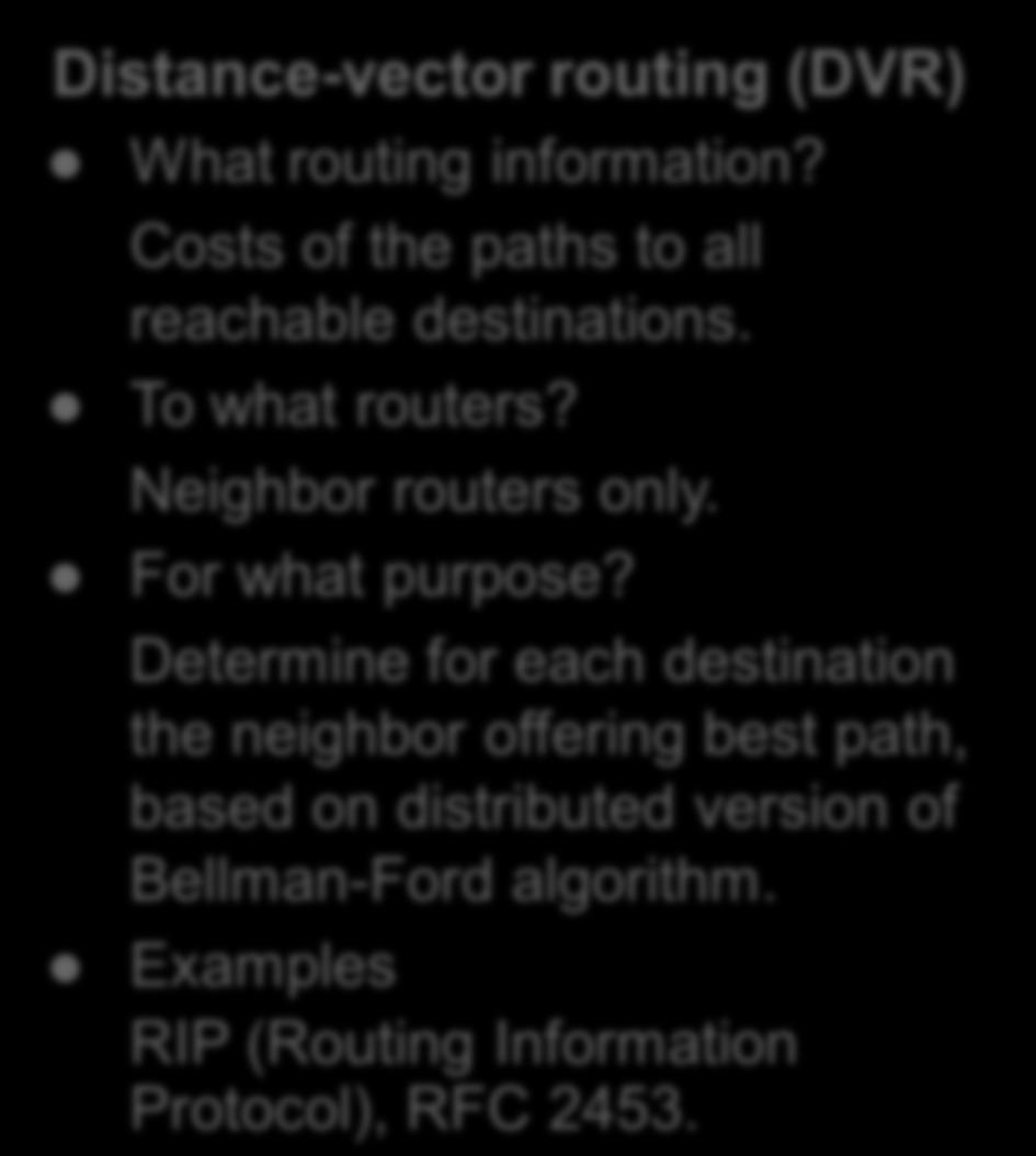 Intra-domain routing Distance-vector routing (DVR) What routing information? Costs of the paths to all reachable destinations. To what routers? Neighbor routers only. For what purpose?