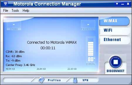 Profiles The Motorola Connection Manager Interface The main interface for establishing WiMAX-based wireless connections is shown below.