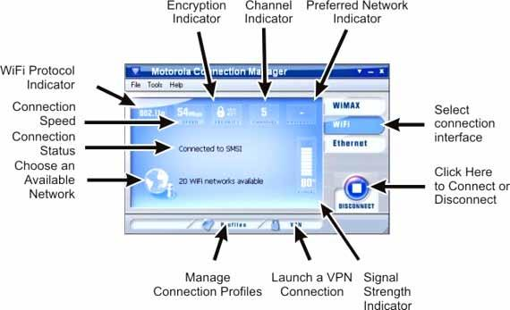 The main interface for establishing WiFi based wireless connection is shown below. This window will display details about the network you are currently connected to.