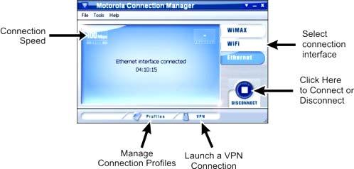 The main interface for establishing Ethernet-based connections is shown below.