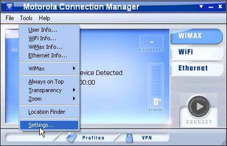 "Creating and Managing Network Profiles The Motorola Connection Manager Settings The Settings Window The ""Settings"" window allows you to configure the behavior of the Motorola Connection Manager"