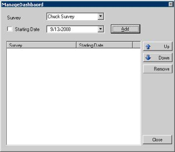 Interaction Feedback Help 1. From the toolbar, click the Manage Dashboard button. The Manage Dashboard dialog is displayed. 2. From the Survey drop-down list, select the survey to be displayed. 3.