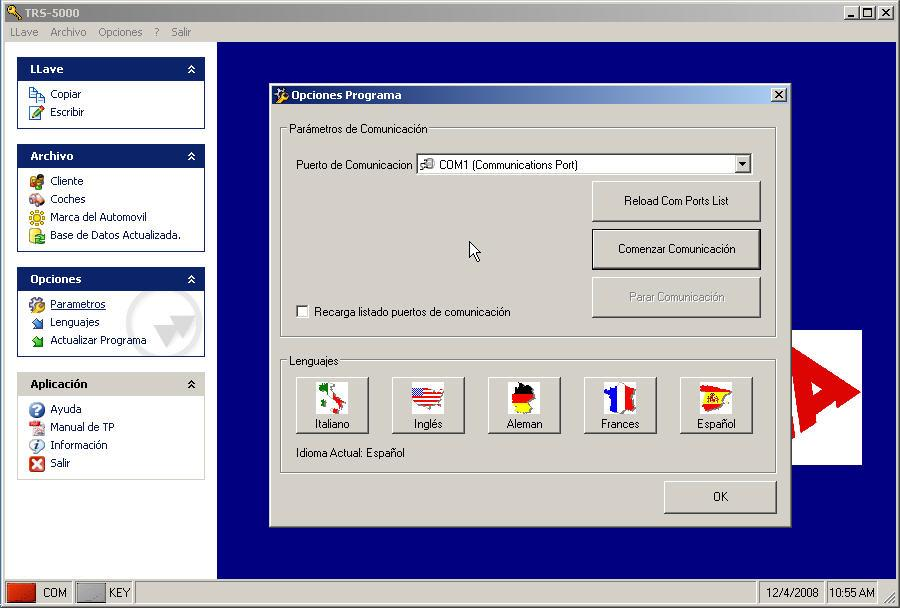 2.6 Before closing the TRS-5000 PC software, make sure you have closed the communications port (on the OPTIONS menu,