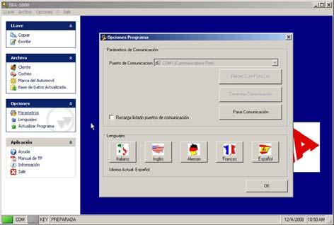 Located on the COMMUNICATION PORT tab, select the serial communication port COM1,...which will appear by default.