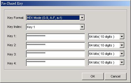 Key Format: You can enter the key values in either Hex Mode or ASCII Mode. The key value is case-sensitive. The valid key values for Hex Mode and ASCII Mode are listed below.