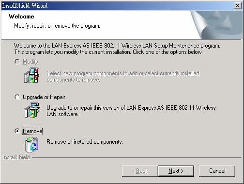 installation process. 2.2.2 Uninstall Wireless LAN (Windows 98/ME/2000/XP) 1.