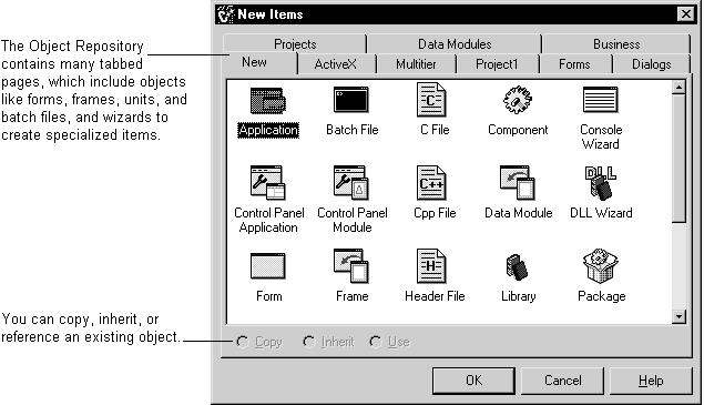Templates and the Object Repository The Object Repository contains forms, dialog boxes, data modules, wizards, DLLs, sample applications, and other items that can simplify