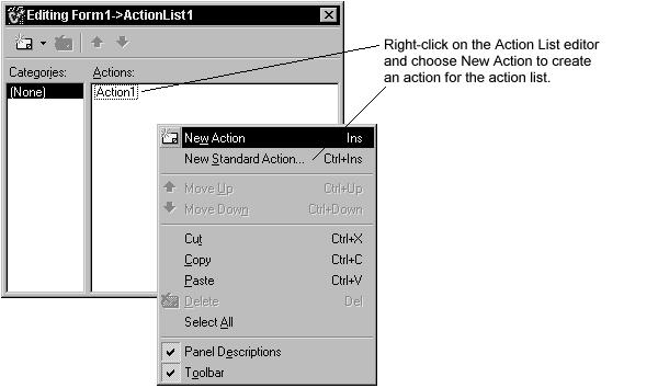3. In the Object Inspector, set the following properties for the action: o After Caption, type &New.