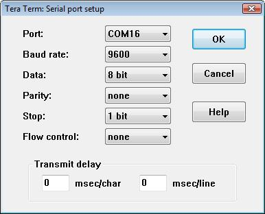 Change the Port to the COM port you are using and click OK.