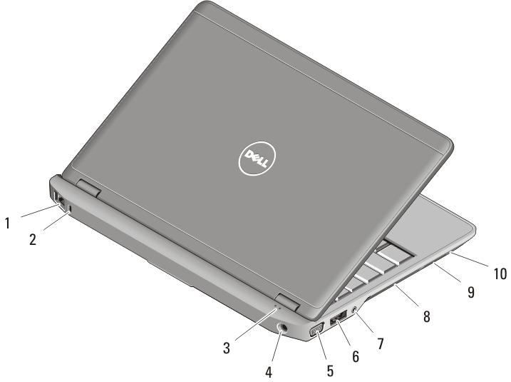 11. touchpad buttons (2) 12. touchpad 13. contactless smart-card reader 14. keyboard 15. volume control buttons (3) Figure 2. Back View 1. network connector 2. security cable slot 3.