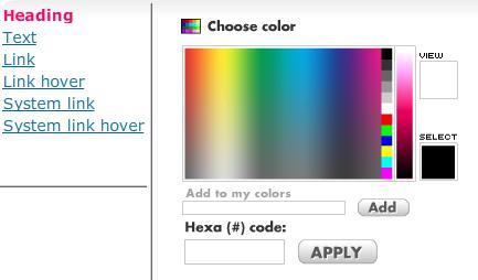 Example: Change the Contents heading color to specific color. Click on the color tab field. After color is selected, click the Use it button.
