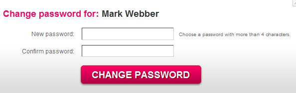 Enter the New Password and Confirm password fields, and confirm by clicking the Change password button.