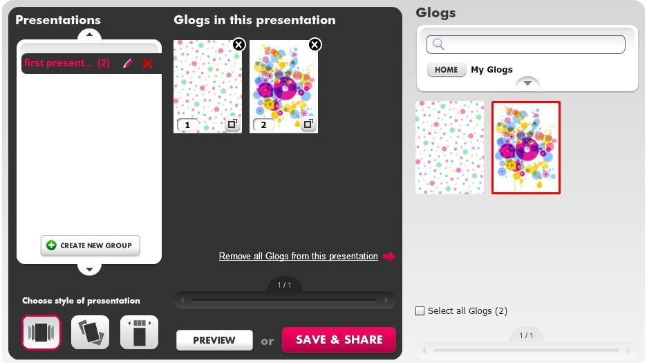 Click one of the Glog groups, the Glogs to view available Glogs.