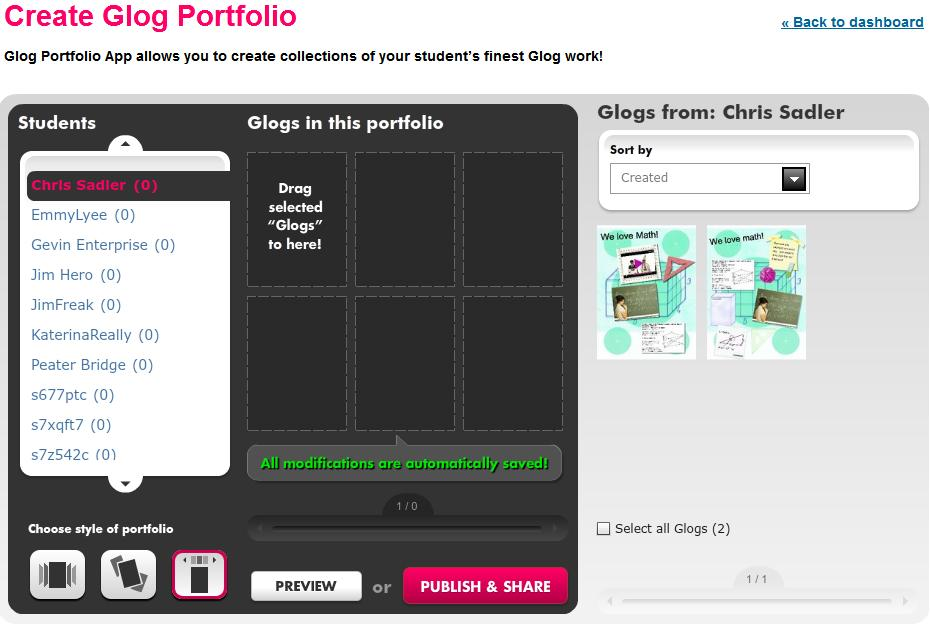 1 P O R T FO L IO C R E A TI O N Create students portfolio, by clicking on