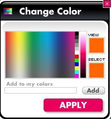 4.1.1.2.2.1 C H A N G E C O L O R M E N U Click this button to access Change color menu. To change color of the text element, you need to click on the color tab field.