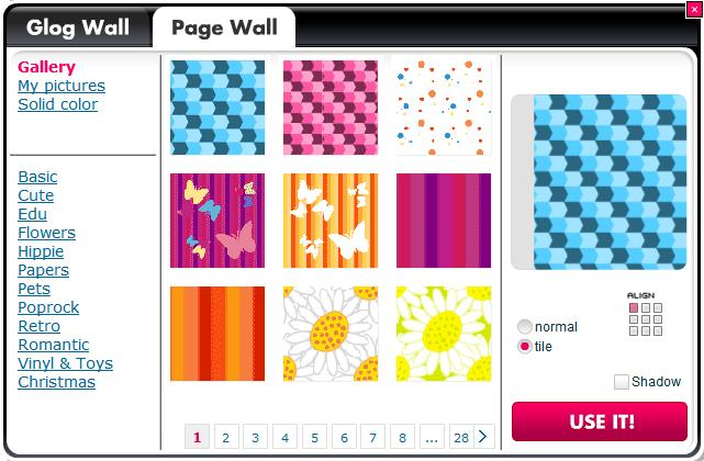 4.1.1.8.2 P A G E W A L L T A B The menu includes all of the Page Wall content. Click on selected Page Wall and confirm selection by clicking the USE IT! Button. The Page Wall will be changed.