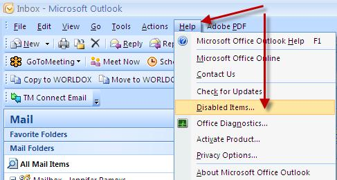 Troubleshooting Tip: If you do not see the TM CONNECT Email button from within Outlook, open the above screen and remove the check mark.