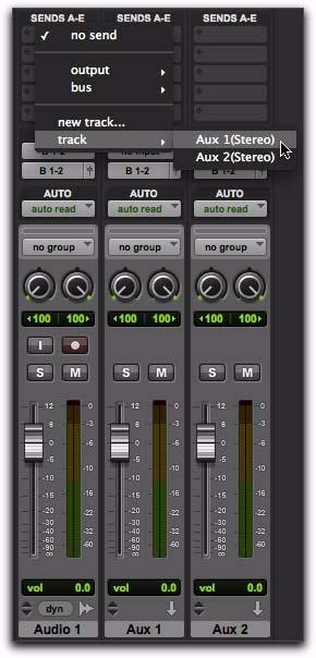 Assign Existing Track from Send or Track Output Pro Tools 9.