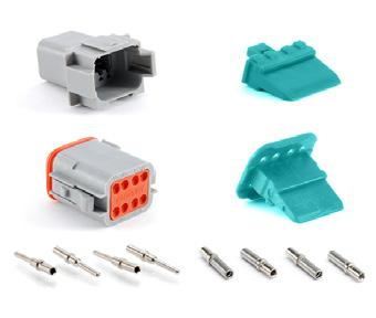 AT 8 POSITIONS 3A AT SERIES STANDARD PLUGS, RECEPTACLES & WEDGELOCKS Contact Size 6 Wire Range (AWG) 4-20 AWG Amperage 3 Plug Part Number Description Part Number Description AT06-08SA Plug, 8-Way A