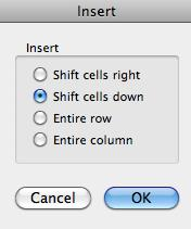 To Insert a Cell 1. Select the cell that is either one cell below or one cell to the right of where you want to new cell to appear. 2.