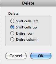 Enable the Shift Cells Right field if you want a new cell inserted to the left of the active cell. 5. Enable the Shift Cells Down field if you want a new cell inserted above the active cell. 6.