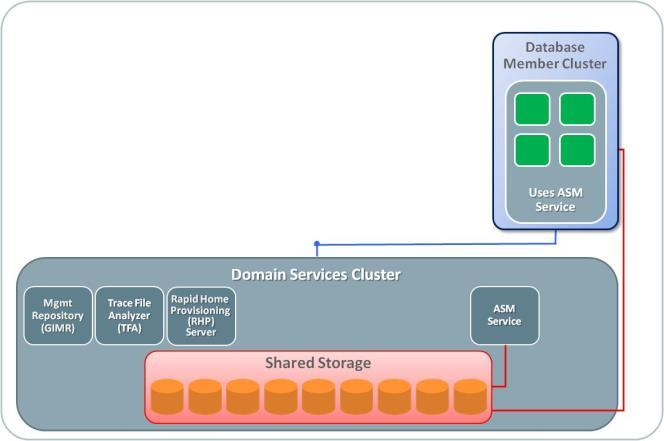 Database Member Cluster configured with remote ASM There are two alternative architectures for Database Member clusters that subscribe to the Storage Service on the DSC.
