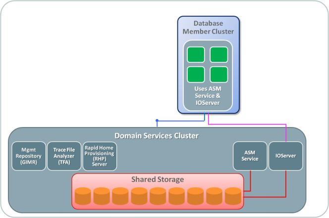 Database Member Cluster configured with directly attached shared storage This configuration takes the concept of the Oracle Standalone Cluster that one step further, by not only offloading the