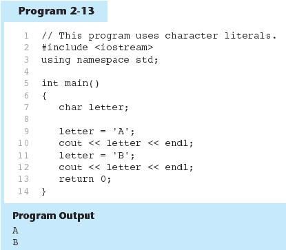 THE CHAR DATA TYPE CHARACTER LITERALS IN PROGRAM 23 THE CHAR DATA TYPE CHARACTER STRING A series of characters in consecutive memory