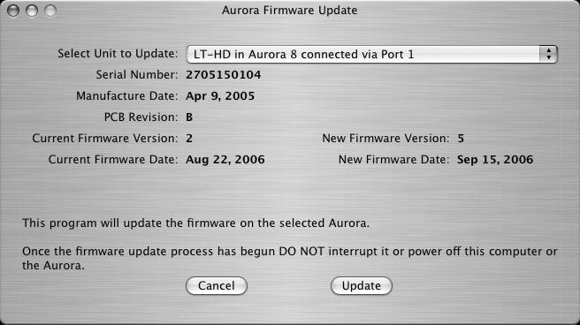 11 Updating the firmware on the LT-HD Updating the firmware on the LT-HD uses the same process as updating the firmware on the Aurora.