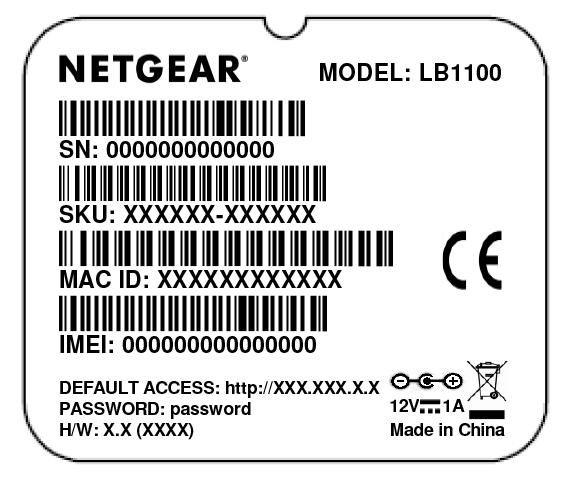 Figure 5. Product label Position the Modem Use the Signal Strength LED bars on the top panel to position the modem for best signal strength in relation to the mobile broadband network.