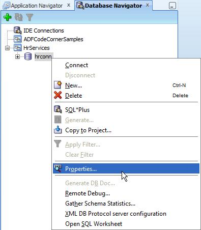 Choose Properties from the opened context menu to edit the database connect information as shown in the image below. Keep the name of the connection as hrconn.