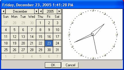 Chapter 5 Using the CORD-XL/Software 28 Use your mouse to select the year, month and date. Use your mouse and position the needles of the clock to the appropriate time.
