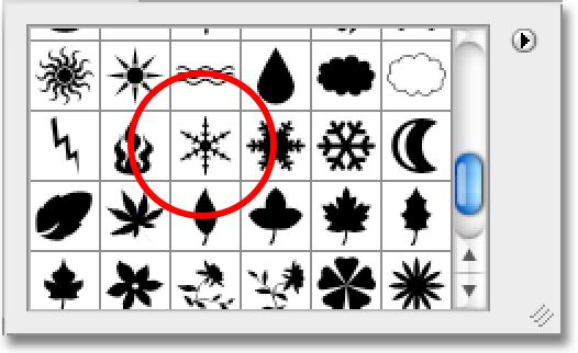 Step 4: Select The First Snowflake Shape With the Nature shapes now loaded, scroll down through the small shape thumbnails until you see the snowflakes (there s three of them in a row).