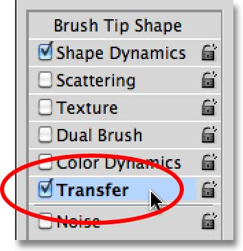 Next, if you re using Photoshop CS5, click directly on the word Transfer on the left of the dialog box.