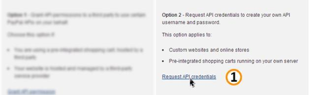 on the link, the user will have to request API credentials by clicking a link of the same name unless they had
