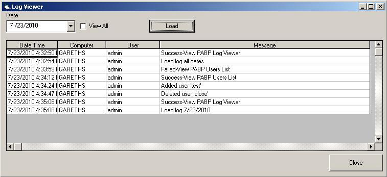 Below is a sample of the Access Log window: The above image shows the following: Successful access by user admin to the Change Log from PC named GARETHS Loading of Change Log data by user admin from