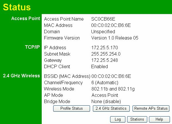 Wireless Access Point User Guide Chapter 4 Operation and Status 4 This Chapter details the operation of the Wireless Access Point and the status screens.