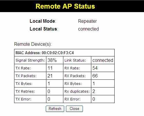 Setup Remote APs status The Remote AP Status screen is displayed when the Remote APs Status button on the Status screen is clicked.