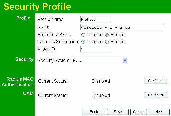 Wireless Access Point User Guide Security Settings - None Figure 22: Wireless Security - None No security is used. Anyone using the correct SSID can connect to your network.
