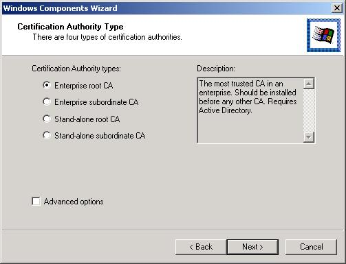 Select the Enterprise root CA, and click Next.