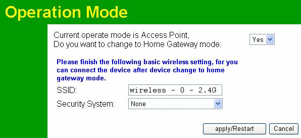Wireless Access Point User Guide Operation Mode There are two operation modes: Access Point mode and Home Gateway mode.