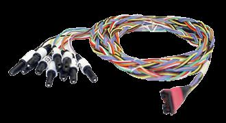 This extension cable comes with two stainless steel stimulus probes and has three cathode (black) and two anode (red) outputs.