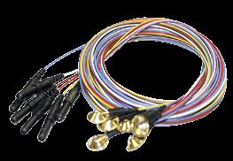 EEG Gold Cup Electrodes 10-mm (0.4-in) Diameter cups have multi-color lead wires and 2-mm (0.08-in) holes for easy paste/collodion application.