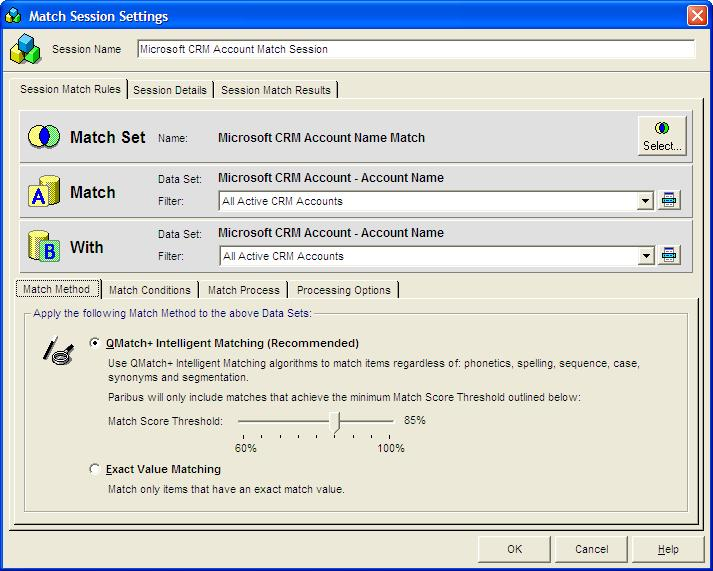 Identifying Matching Data in Microsoft Dynamics CRM Defining/Refining the Match Session Settings The matching process is defined within your Paribus Match Session.