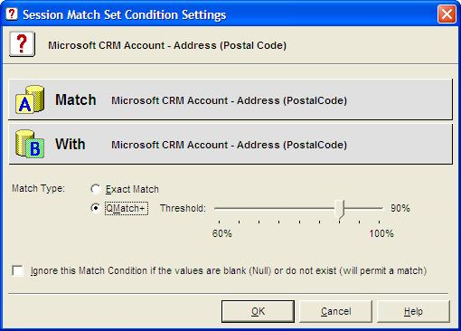 Figure 13 - Match Session - Match Conditions Tab In the case of matching Microsoft CRM Account names, a Match Condition of Postal Code or Full Address typically provides an effective condition to the
