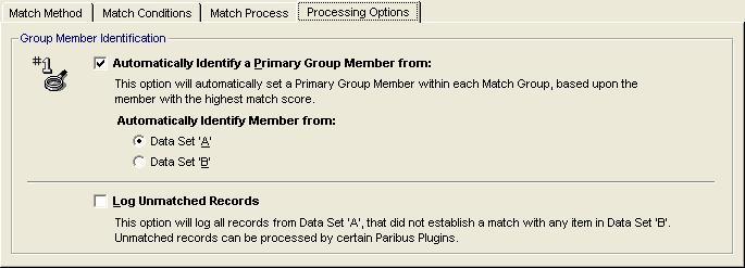 Figure 15 - Match Session - Matching Process Tab By default, matching Microsoft CRM Accounts/Contacts/Leads should use the Standard Matching process.