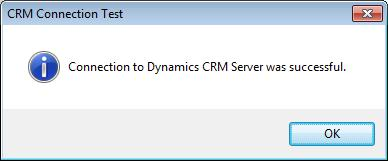 Processing Duplicate Records in Microsoft Dynamics CRM If the connection test was successful, the message box similar to the following will be displayed detailing the success of the test.